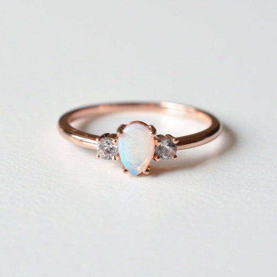 Garnet Ring Trio Ring Three Stone Ring Dainty Ring Opal Ring Personalized Ring 14k Australian Opal Rose Gold Ring Mothers Ring