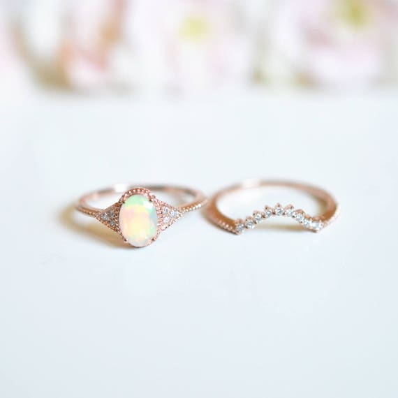 Opal Wedding Band.Rose Gold Opal Engagement Ring Sets Vintage Opal Wedding Ring Opal Enagegement Ring Antique Opal Engagement Ring Platinum Opal Promise Ring