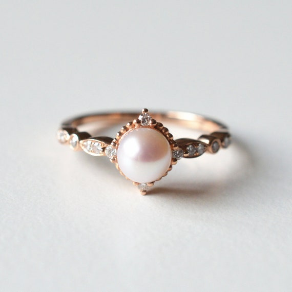 Vintage Pearl Engagement Ring Akoya Pearl Ring Pearl Wedding Etsy