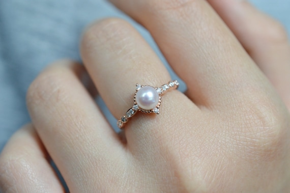 Holiday Gift Engagement Ring Japanese Akoya Pearl Ring in 14K Solid Gold Ring Setting White Akoya Pearl Custom Made Wedding Jewelry