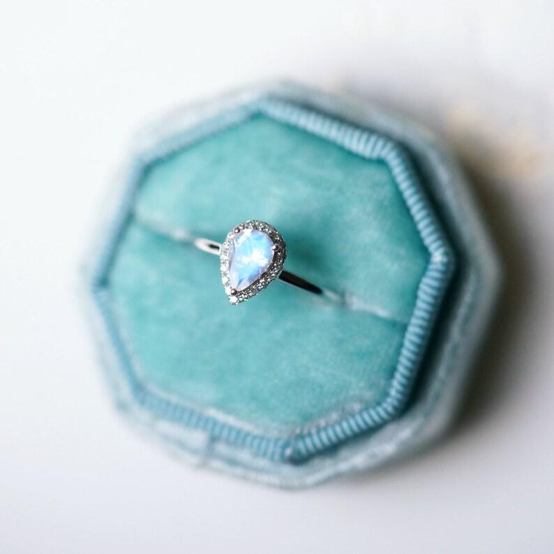 Moonstone Engagement Ring Blue Moonstone Wedding Ring White image 0