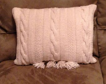 Ivory Cable Knit  Pillow Cover