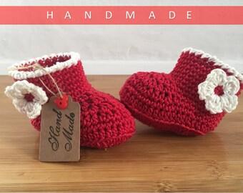Baby Girl Booties/ Crochet Booties/ Baby Girl Present/ Baby Booties