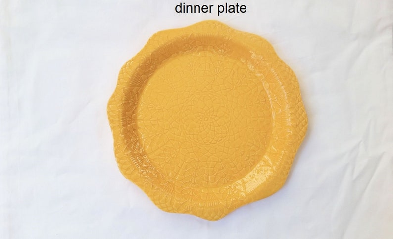 ceramic plate yellow pottery plate lace-impressed handmade pottery