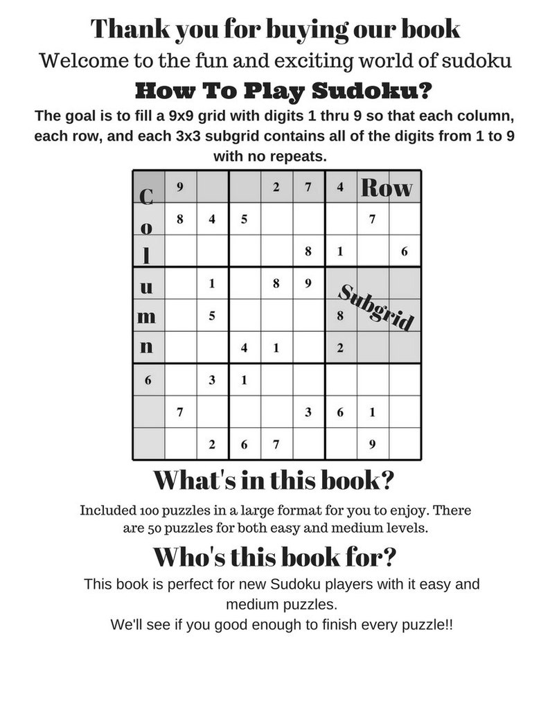 100 printable Sudoku Puzzles Large Format , Brain teaser Easy to Medium  level For beginners Volume 1