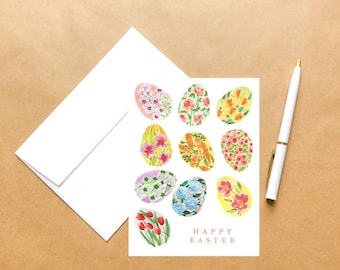 Floral Easter Eggs   Easter Greeting Card