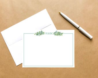 Greenery | Personalized Watercolor Note Card