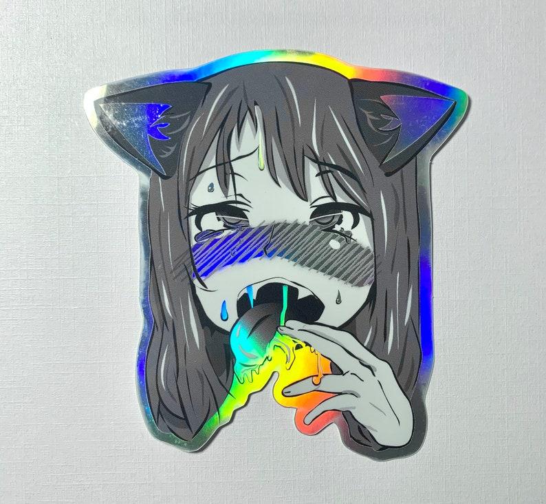 Holographic Inu Ahegao Sticker image 0
