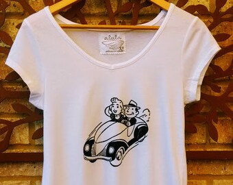 Women's Cruisin' T-shirt, women's vintage car t-shirt