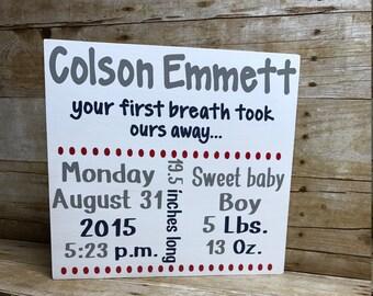 Baby birth announcement sign  birth announcement  nursery sign