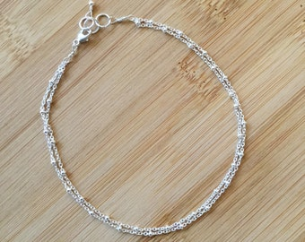 caf50c776 1.5 Extender -Delicate Double Layered Ankle Bracelet Handmade Sterling  Silver Multi Stranded Chain Anklet 9 Dainty Summer Foot Jewelry