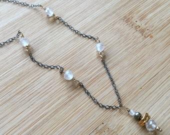 White Topaz and Oxidized Sterling Silver Necklace, Mixed Metal Jewelry, White Topaz Jewelry, Gold Filled Jewelry, Gemstone Necklace