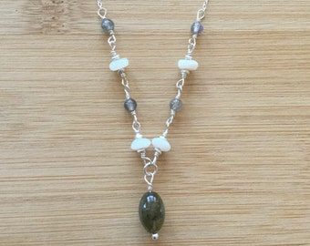 Mexican Opal and Labradorite Necklace, Sterling Silver Necklace, Opal Necklace, Opal Jewelry, Wire Wrapped Necklace, Gray and White Beaded