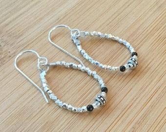 Karen Hill Tribe Silver Earrings, Silver Hoop Beaded Earrings, Hill Tribe Silver Jewelry, Silver Dangle Earrings
