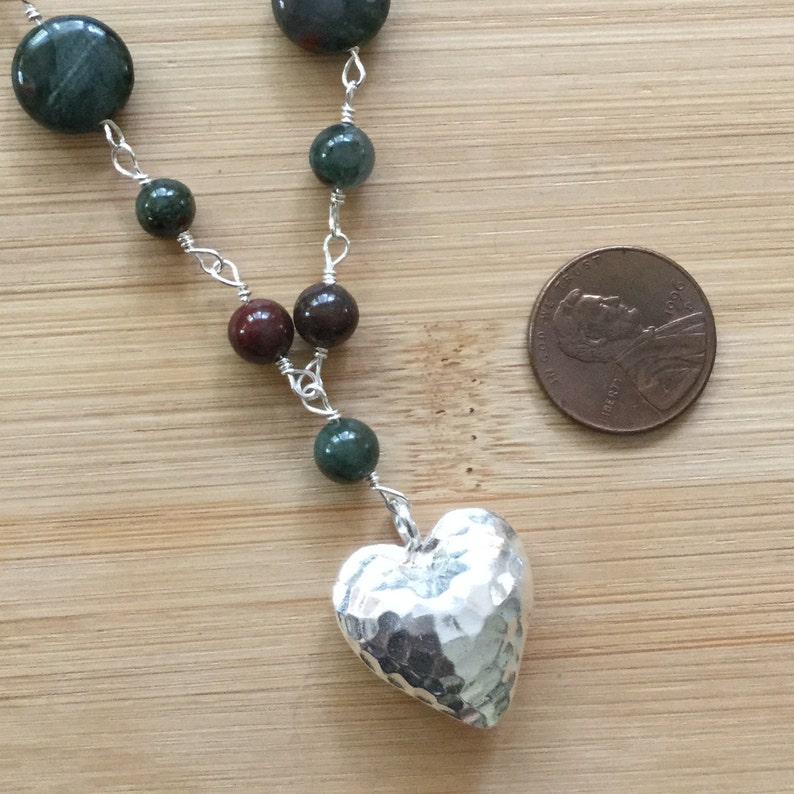 Bloodstone Necklace Sterling Silver Wire Wrapped Jewelry Beaded African Bloodstone Jewelry Karen Hill Tribe Silver Heart Pendant