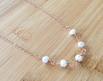 Freshwater Pearl and Rose Gold Filled Necklace, Rose Gold Jewelry, June Birthstone Jewelry, White Pearl Necklace, Anniversary Gift
