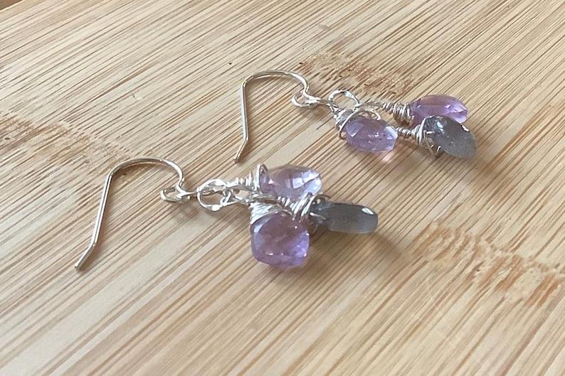 Gemstone Cluster and Sterling Silver Earrings Amethyst Jewelry Artisan Earrings Labradorite and Amethyst Earrings February Birthstone