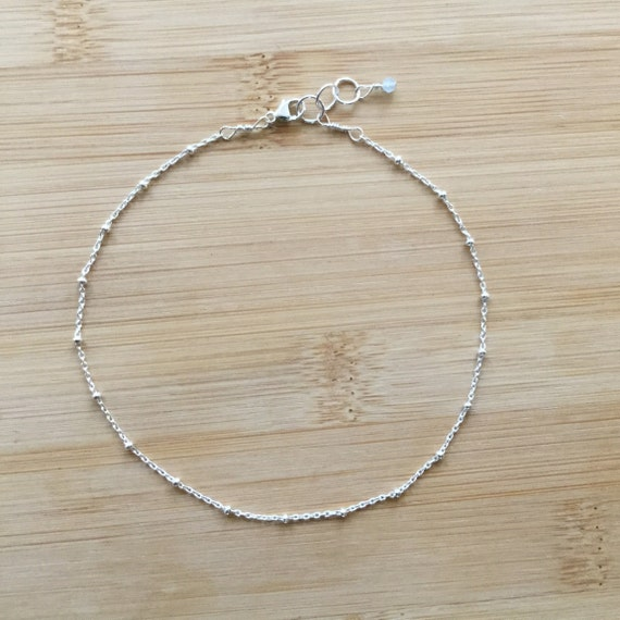 e1c6232f1ad Sterling Silver Anklet Simple Silver Anklet Satellite Chain | Etsy