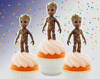 Groot Cupcake Topper Double-Sided, Groot Galaxy Guardians Topper, Printable, Instant Download