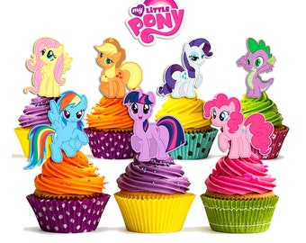 8 My Little Pony Cupcake Toppers Double Sided Party Printable Instant Download