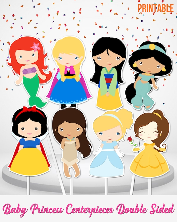 8 Disney Princess Centerpieces Double Sided Cake Toppers Party Printable Big Inch Small Instant Download