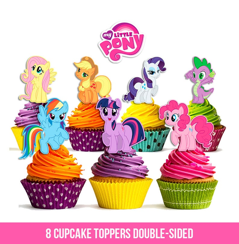 8 My Little Pony Cupcake Toppers, Double Sided, My Little Pony Party,  Printable, Instant Download