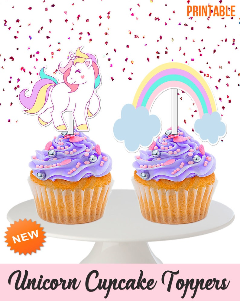 image relating to Unicorn Cupcake Toppers Printable identified as Printable, Unicorn Cupcake Toppers, Double sided, Unicorn + Rainbows Cupcake Toppers, Adorable Toppers, Kid Shower, Unicorn Social gathering