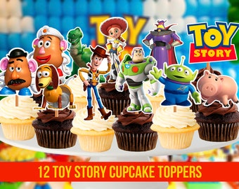 12 Toy Story Cupcake Toppers, Printable Toppers, Toy Story Party, 2,5 inches tall, Instant Download