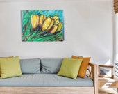 Yellow Tulips Large Original Oil Painting On Cotton Canvas Blooming flowers Painting for wall decor in a Living Room, Bedroom Above a Bed
