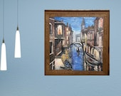 Canals of Venice Large Original Acrylic Painting On Cotton Canvas Italy Painting for wall decor in a Living Room Father's Day gift