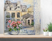 Open Window Large Original Acrylic Painting On Cotton Canvas Paris rooftops for wall decor in a Living Room dining room Bedroom Above a Bed