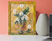 Dandelions Original Acrylic Painting On Cotton Canvas yellow floral Painting for wall decor in a Living Room dining room Bedroom Above a Bed
