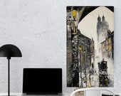 Old City Black White Original Acrylic Painting On Canvas for Wall Decor in Living Room Office  Cityscape in Vintage style Father's Day gifts