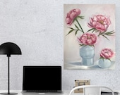 Peonies in white vases Large Original Oil Painting On Cotton Canvas Artwork Painting for wall décor in a Living Room, Dining Room, Bedroom