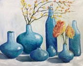 Large Original Oil Painting On Cotton Canvas Blue vases Original Painting for Living Room, Kitchen/Dining Room Above a Table