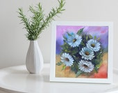 Chamomile Original Oil  Painting On Cotton Canvas Painting for wall decor in a Living Room dining room Bedroom Above a table