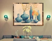 Blue vases Large Original Oil Painting On Cotton Canvas Original Artwork Painting for Living Room, Kitchen/Dining Room Above a Table