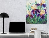 Irises Large Original Oil Painting On Cotton Canvas Purple Flowers Painting for wall decor in a Living Room dining room Bedroom Above a Bed