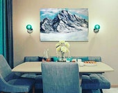 Snow Mountains Landscape Above the clouds Contemporary Original oil artwork Modern  blue home decor
