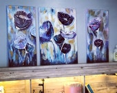 Abstract purple flowers 3 set original acrylic wall art Triptych oil painting of 3 set Above bed large size wall art