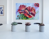 Red poppies Original Oil Painting On Cotton Canvas Blooming flowers Contemporary artwork floral wall decor in Living Room  Bedroom