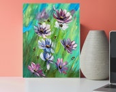 Original Acrylic Painting On panel Canvas Green Purple Flowers Painting for wall decor in a Living Room dining room Bedroom Above a Bed