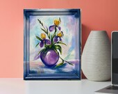 Irises Original Acrylic Painting On Cotton Canvas Purple Flowers Painting for wall decor in a Living Room dining room Bedroom Above a Bed