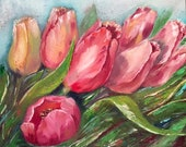 Large Canvas Wall Art Pink Tulips Painting Original Oil Painting on Canvas Original Oil Artwork for Bedroom  Living Room wall art decor