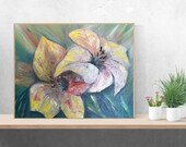 Large Original oil Painting On Cotton Canvas Two Lilies Original  Painting for wall decor in a Living Room, Bedroom Above a Bed