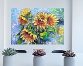 Sunflowers original oil painting On Cotton Canvas Yellow flowers wall decor in Living Room  Bedroom dining room Mowing gift ideas