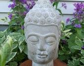 Buddha Head Bust Spiritual Decor Indoor Outdoor Garden Statue Concrete
