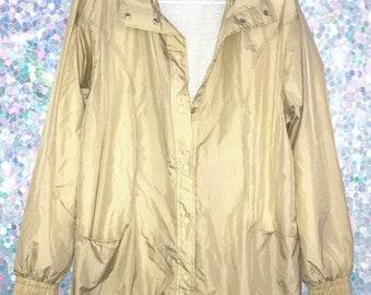Vintage 90s Tan Longer Style Windbreaker Jacket
