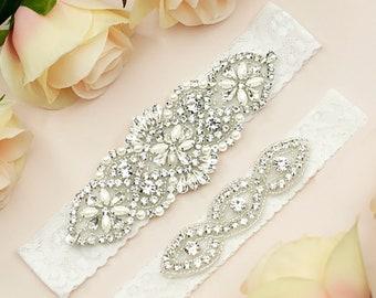 Bridal Garter, Wedding Garter, White Wedding Garter, White Bridal Garter, Bridal Garter Belt, Lace Wedding Garter, Bridal Garter Set, 1