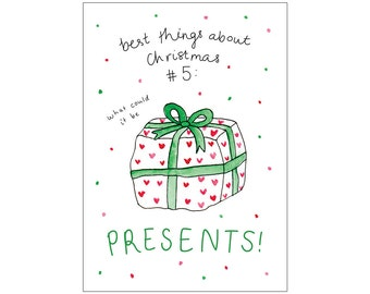 Christmas card: PRESENTS (best things about Christmas #5)